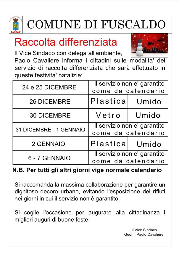 calendario raccolta differenziata natale 2017